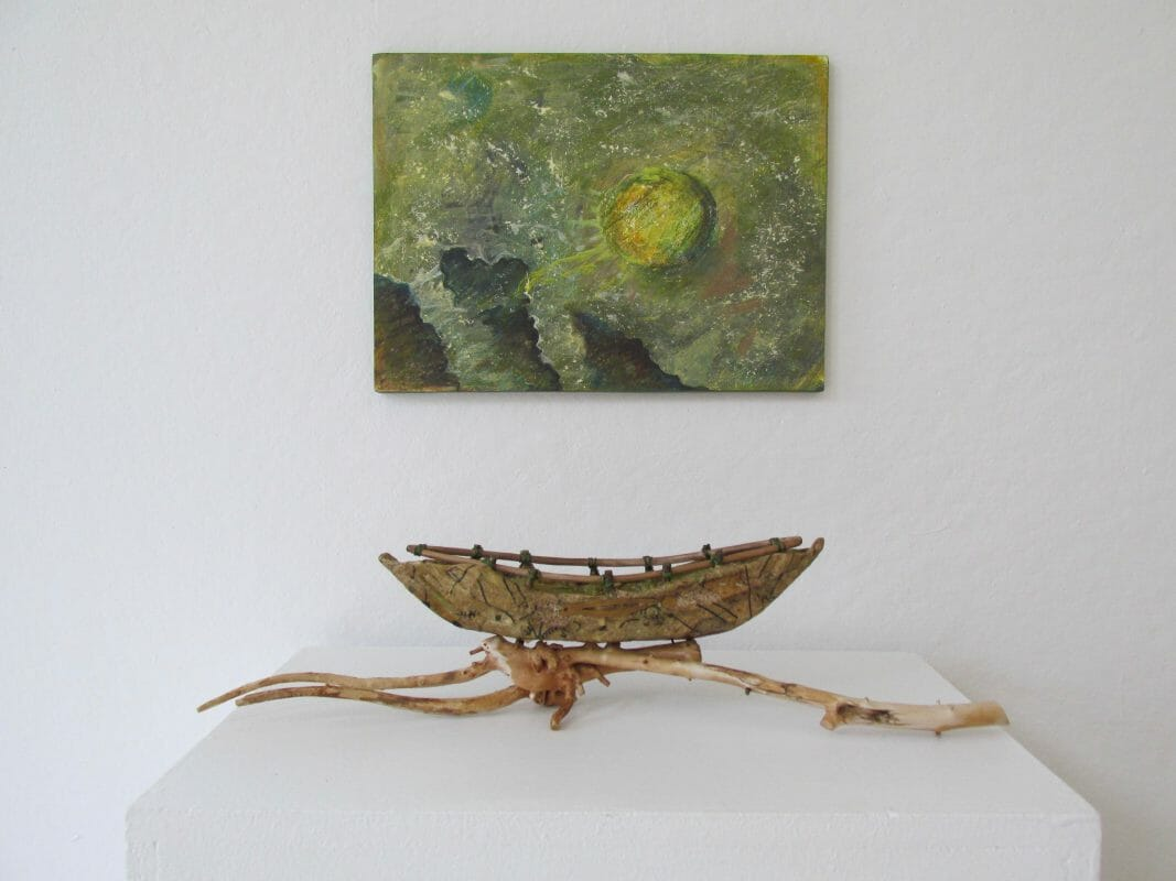 painting - acrylic on paper mounted on board;   fiber sculpture boat - wire fiber rush, mulberry and pattern paper, driftwood, cloth, acrylic